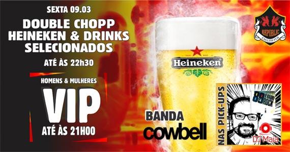 Banda Cowbell e DJ Maia comandam a noite com pop rock no Republic Pub