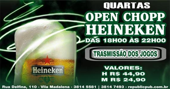 Transmissão do futebol e Open Chopp Heineken no happy hour do Republic Pub na quarta