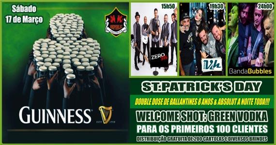 Festa de St. Patrick's Day com as bandas Vih e Bubbles no Republic Pub