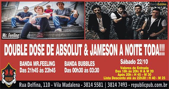 Banda Mr. Feeling e banda Bubbles comandam a noite com pop rock no Republic Pub Eventos BaresSP 570x300 imagem