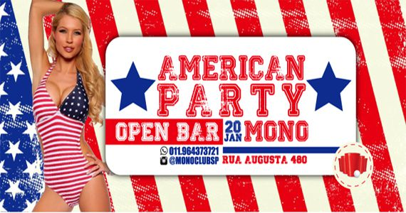 Sexta-feira é dia de American Party com Open Bar na Mono Club Eventos BaresSP 570x300 imagem