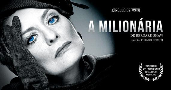 Teatro Aliança Francesa apresenta o espetáculo A Milionária com Chris Couto e grande elenco Eventos BaresSP 570x300 imagem