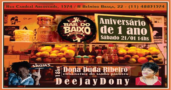 Bar do Baixo comemora 1 ano com a embaixatriz do samba Dona Duda Ribeiro Eventos BaresSP 570x300 imagem