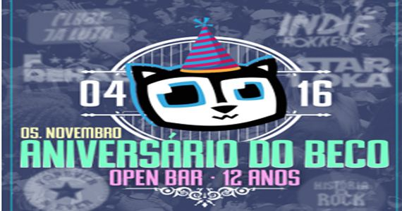 Festa de aniversário de 12 anos do Beco 203 com Open Bar Duplo ao som de muito pop, rock, hip hop e outros Eventos BaresSP 570x300 imagem