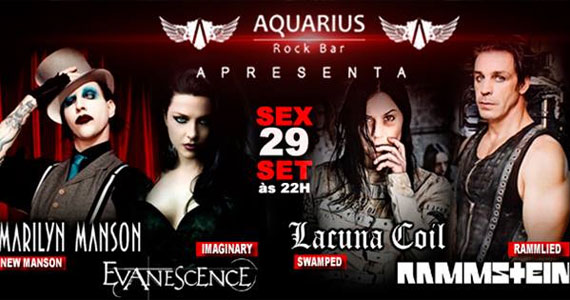 Covers das bandas Evanescence, Lacuna Coil, Rammstein e Marilyn Manson no Aquarius Rock Bar Eventos BaresSP 570x300 imagem