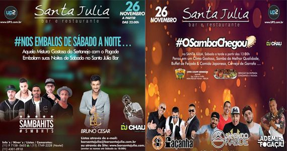 #OSambaChegou com grupo Façanha, Samba do Kabide e Ademir Fogaça no Bar Santa Julia Eventos BaresSP 570x300 imagem