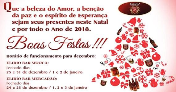 Boas festas, um Feliz Natal e Próspero Ano Novo, é o que deseja o Elidio Bar para todos os clientes e amigos Eventos BaresSP 570x300 imagem