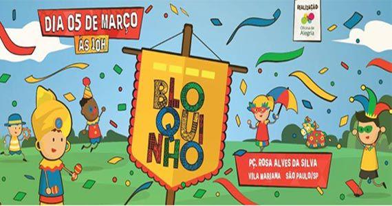 Carnaval Infantil da Banda do Bloquinho agitando a Praça Rosa Alves da Silva Eventos BaresSP 570x300 imagem