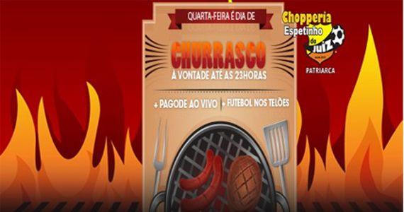 Pagode ao vivo, futebol no telão e churrasco free no Bar Espetinho do Juiz - Patriarca Eventos BaresSP 570x300 imagem