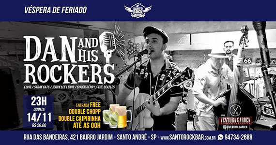 Noite de rockabilly com Dan And His Rockers no Santo Rock Bar Eventos BaresSP 570x300 imagem