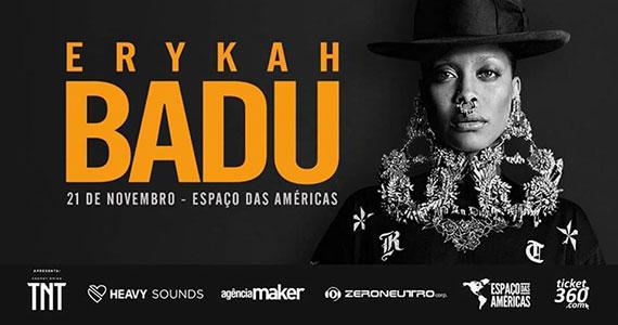Erykah Badu realiza show único no Espaço das Américas Eventos BaresSP 570x300 imagem