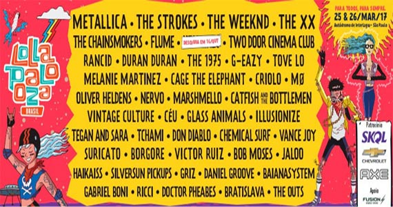 Lollapalooza 2017 traz o show do Metallica, The 1975, Tove Lo, The XX, Glass Animals e muito mais no Autódromo de Interlagos