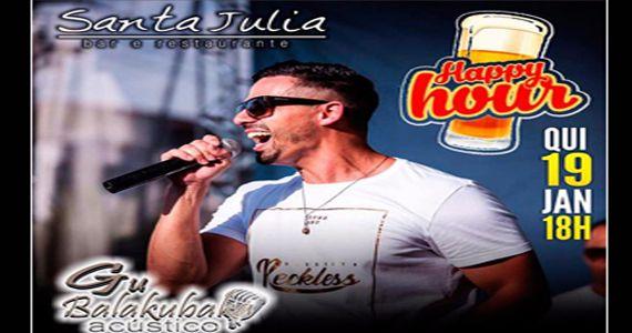 Eventos AgendaQuinta-feira tem Happy Hour com música ao vivo no Bar Santa Júlia com Gu Balakuba BaresSP