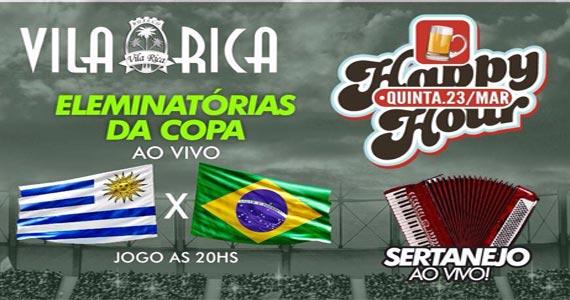 Eliminatórias da Copa Ao Vivo Brasil x Uruguai com Happy Hour Open Bar e Food no Boteco Vila Rica Eventos BaresSP 570x300 imagem