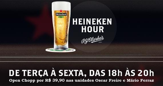 P.J. Clarkes oferece Happy Hour com chopp Heineken à vontade por um preço fixo BaresSP