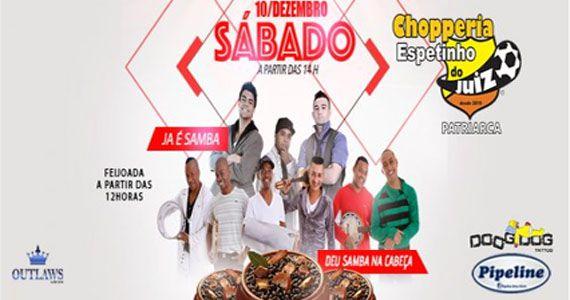 Sábado tem feijoada com Ja é Samba e Deu Samba na Cabeça no Bar Espetinho do Juiz Patriarca Eventos BaresSP 570x300 imagem