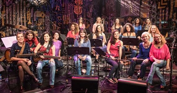 Grupo de mulheres do Jazzmin's Big Band apresenta clássicos de compositores brasileiros Eventos BaresSP 570x300 imagem