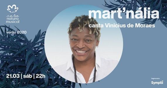 Mart'nália canta Vinicíus de Moraes na Casa Natura Musical em Março Eventos BaresSP 570x300 imagem