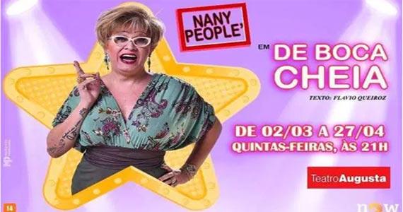 Teatro Augusta recebe a peça De Boca Cheia com Nany People em curta temporada Eventos BaresSP 570x300 imagem