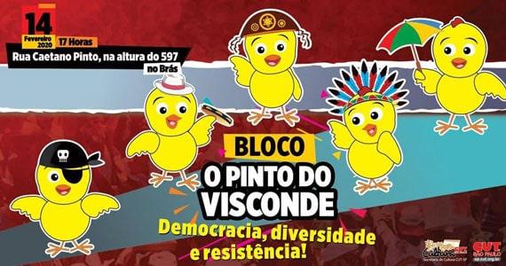 A batucada do Bloco O Pinto do Visconde desfila pelas ruas do Brás Eventos BaresSP 570x300 imagem