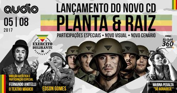 """Audio recebe no dia 05 de agosto o lançamento do novo CD Exército Delirante"""" do Planta e Raiz Eventos BaresSP 570x300 imagem"""