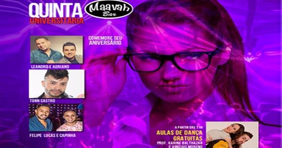 Quinta Universitária com Leandro & Adriano, Tonn Castro e Felipe Lucas & Capinha no Maavah Bar Eventos BaresSP 570x300 imagem