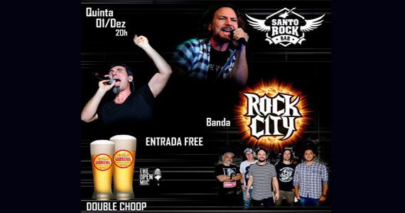 As quintas no Santo Rock têm Chopp em Dobro e o melhor do rock com a banda Rock City Eventos BaresSP 570x300 imagem