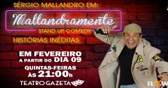 Stand Up Comedy com o humorista Sergio Mallandro no Teatro Gazeta com o espetáculo Malandramente Eventos BaresSP 570x300 imagem