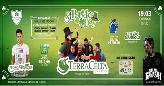 St Patricks Day com Pedro Henrique, Terra Celta, Gaita de Foles, Estevão Manfiolli e Luana Gamarah no Dunluce Irish Pub Eventos BaresSP 570x300 imagem