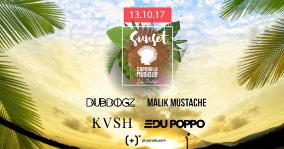 Sunset com Malik Mustache, DubDogz e KVSH no Café de la Musique Beach Club Eventos BaresSP 570x300 imagem