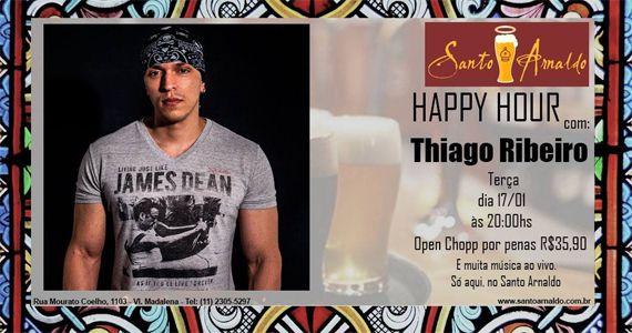 Happy Hour com Open Chopp e show do Thiago Ribeiro no Bar Santo Arnaldo Eventos BaresSP 570x300 imagem