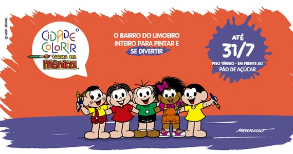 CidadeColorir Turma da Mônica chega ao Shopping Jardim Sul Eventos BaresSP 570x300 imagem