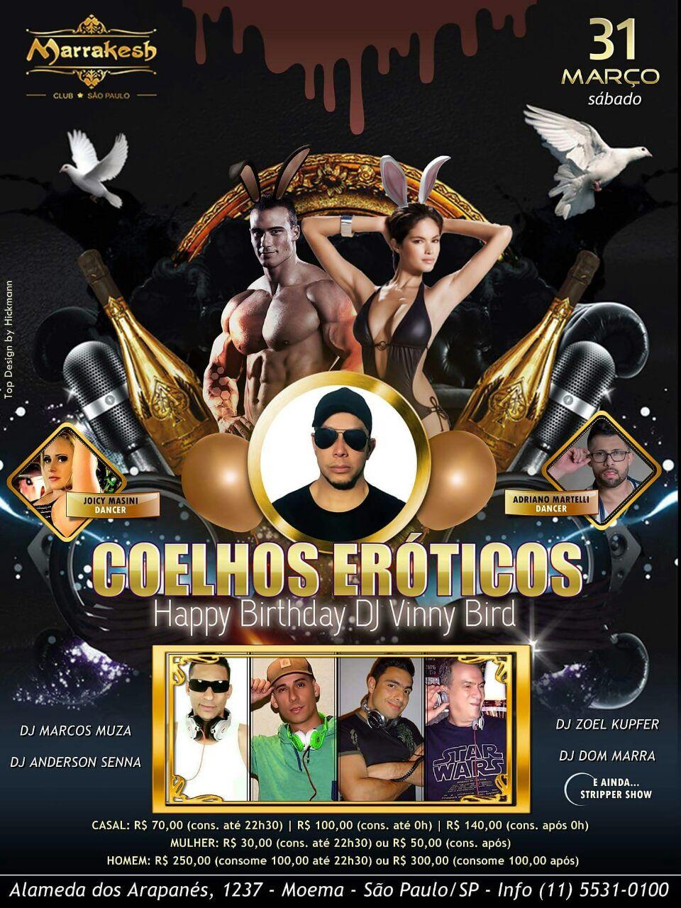 Noite dos Coelhos Sedutores & B-day do DJ Vinny Bird
