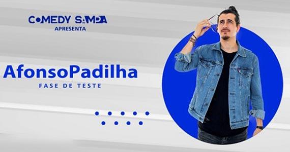 """Afonso Padilha apresenta """"Fase de Testes"""" no palco do Comedy Sampa Club Eventos BaresSP 570x300 imagem"""