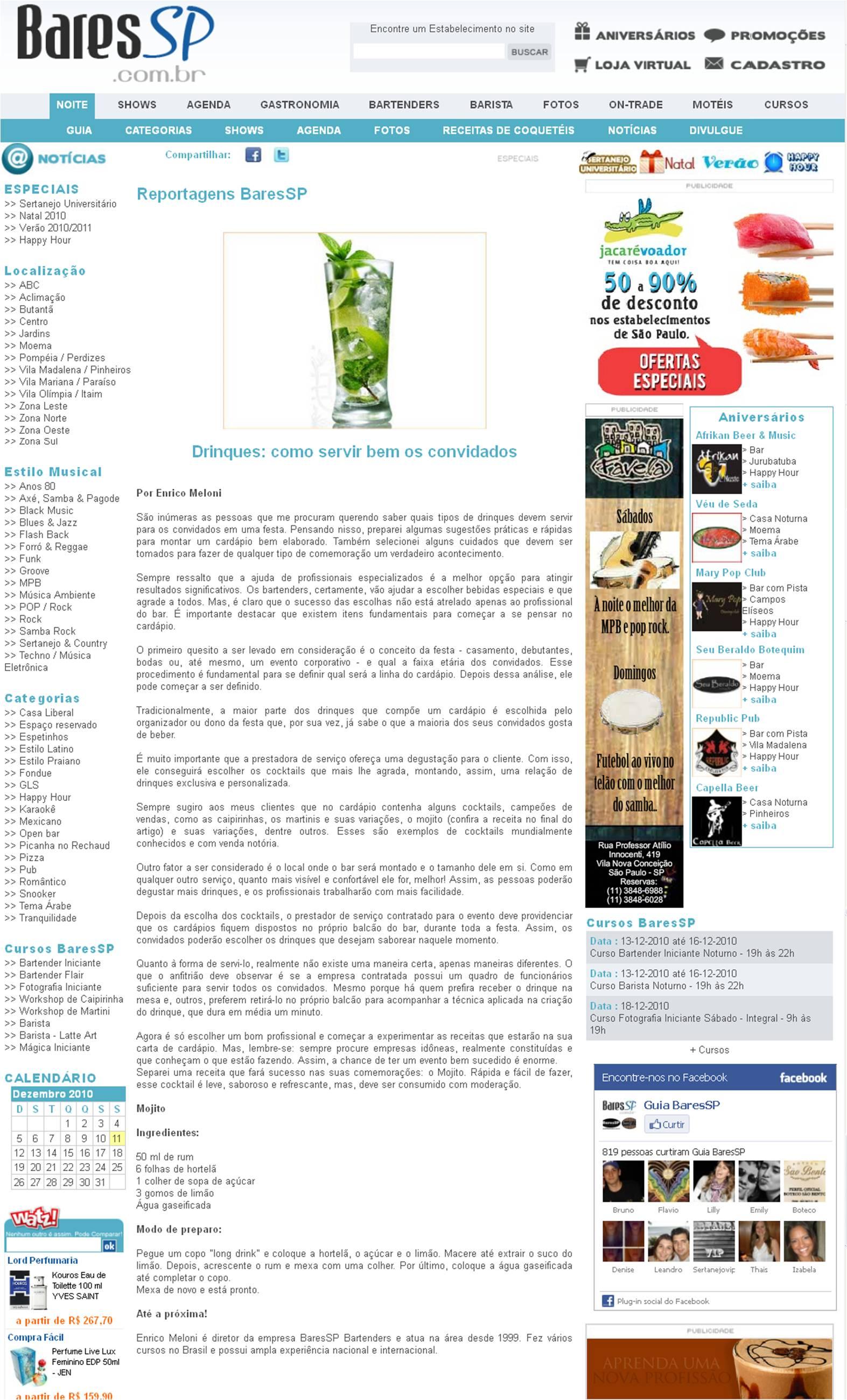 Matéria no Site BaresSP BaresSP image