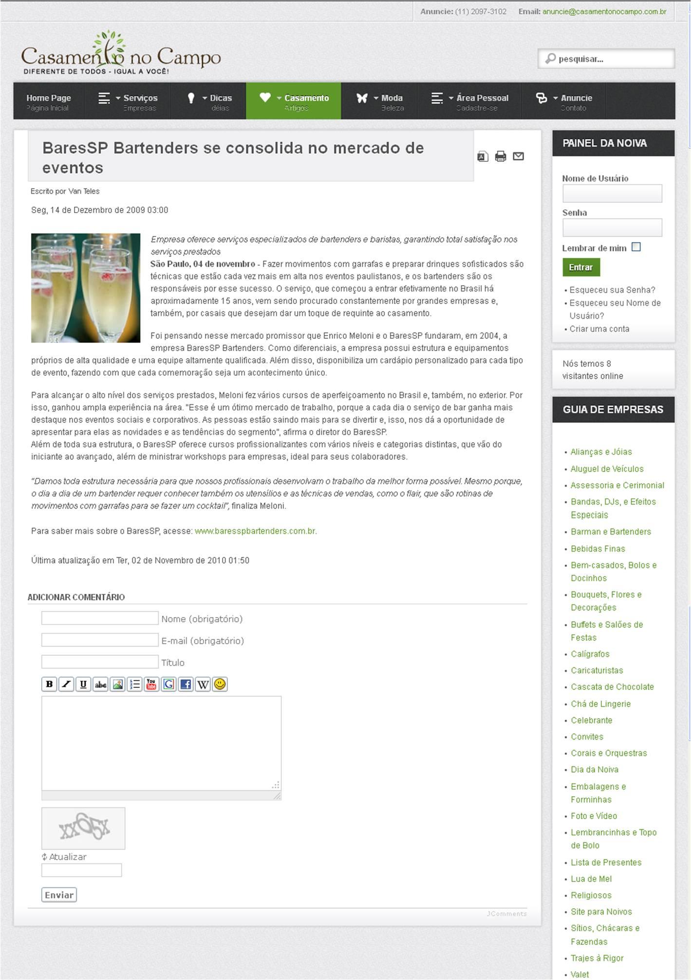 BaresSP Bartenders se consolida no mercado de eventos BaresSP image