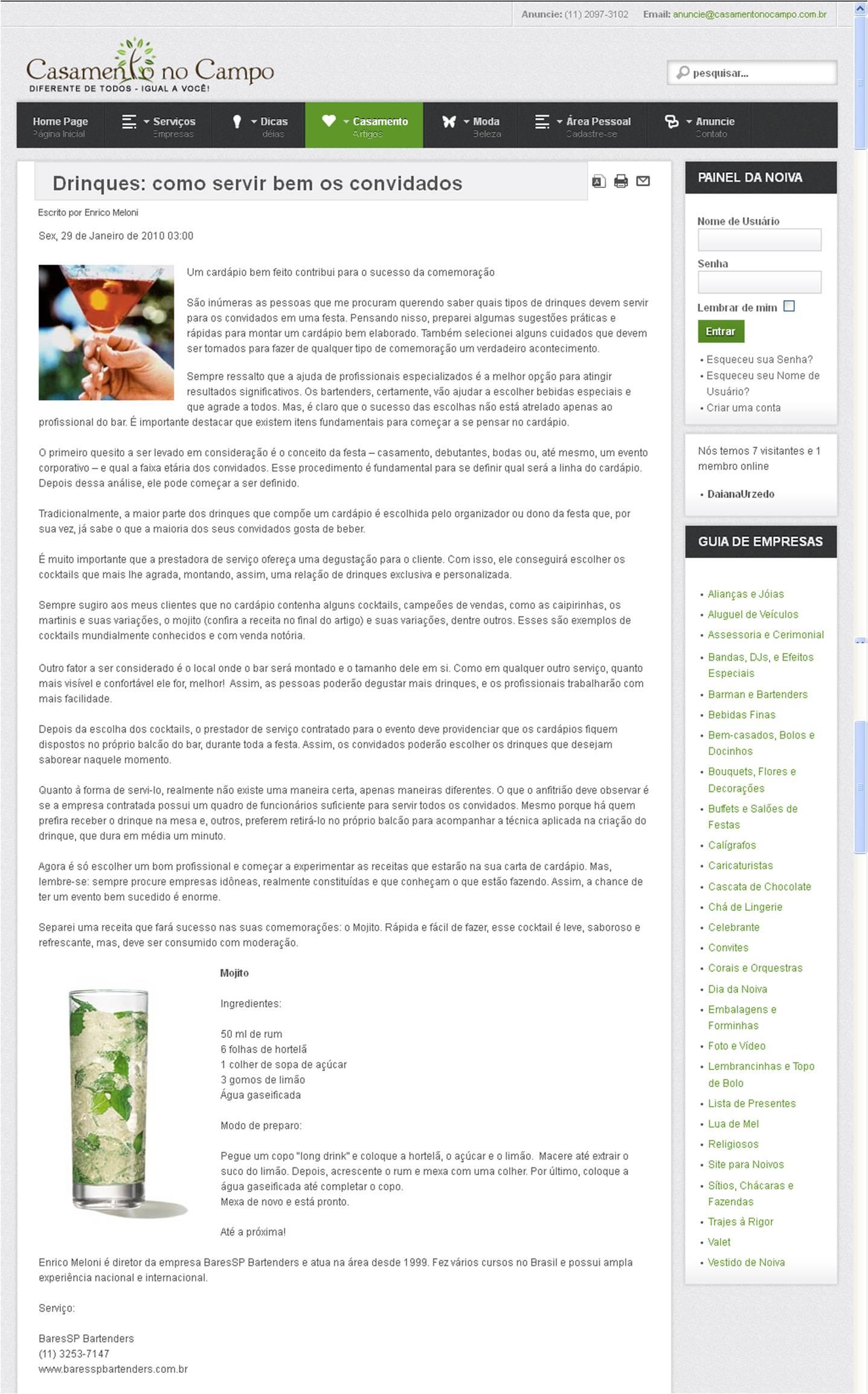 Matéria no Portal Guia de Casamento no Campo BaresSP image