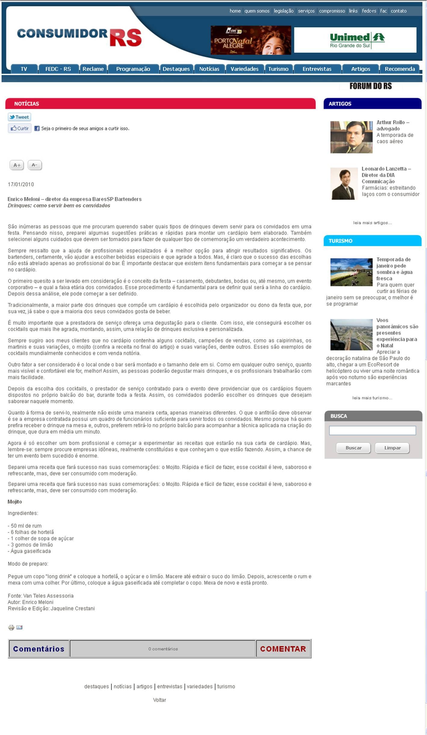 Matéria no Portal Consumidor RS