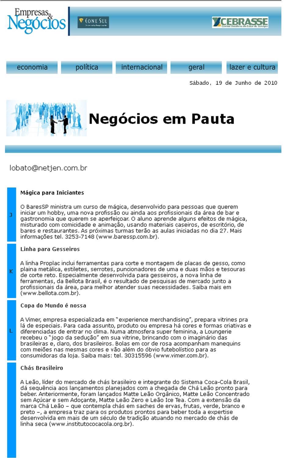 Curso de mágica do BaresSP no Jornal Empresas & Negócios