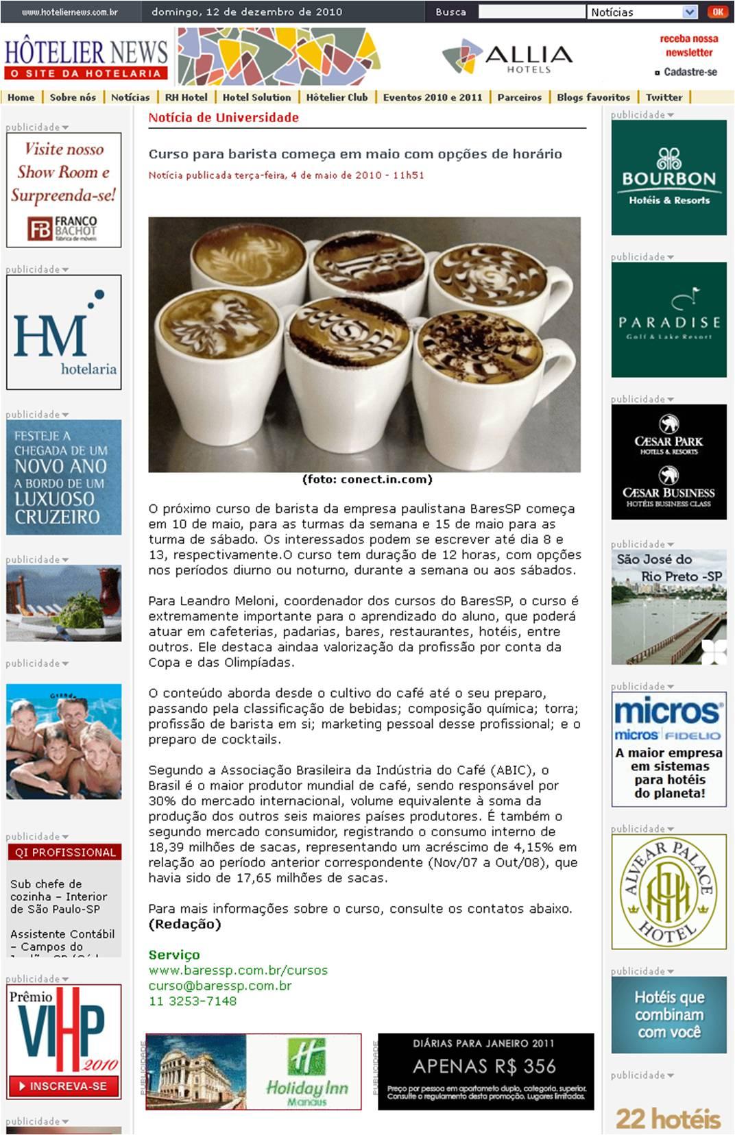 Curso de baristas no Site Hotelier News