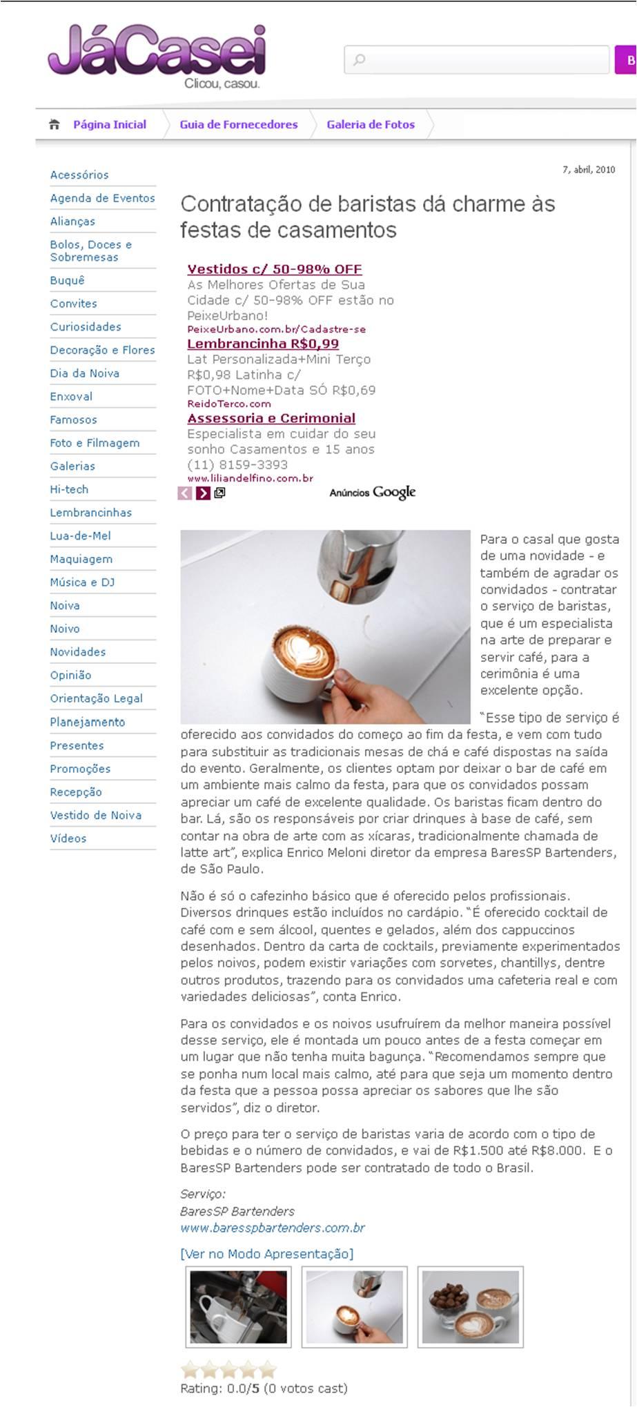 Matéria sobre baristas no Site JaCasei.com