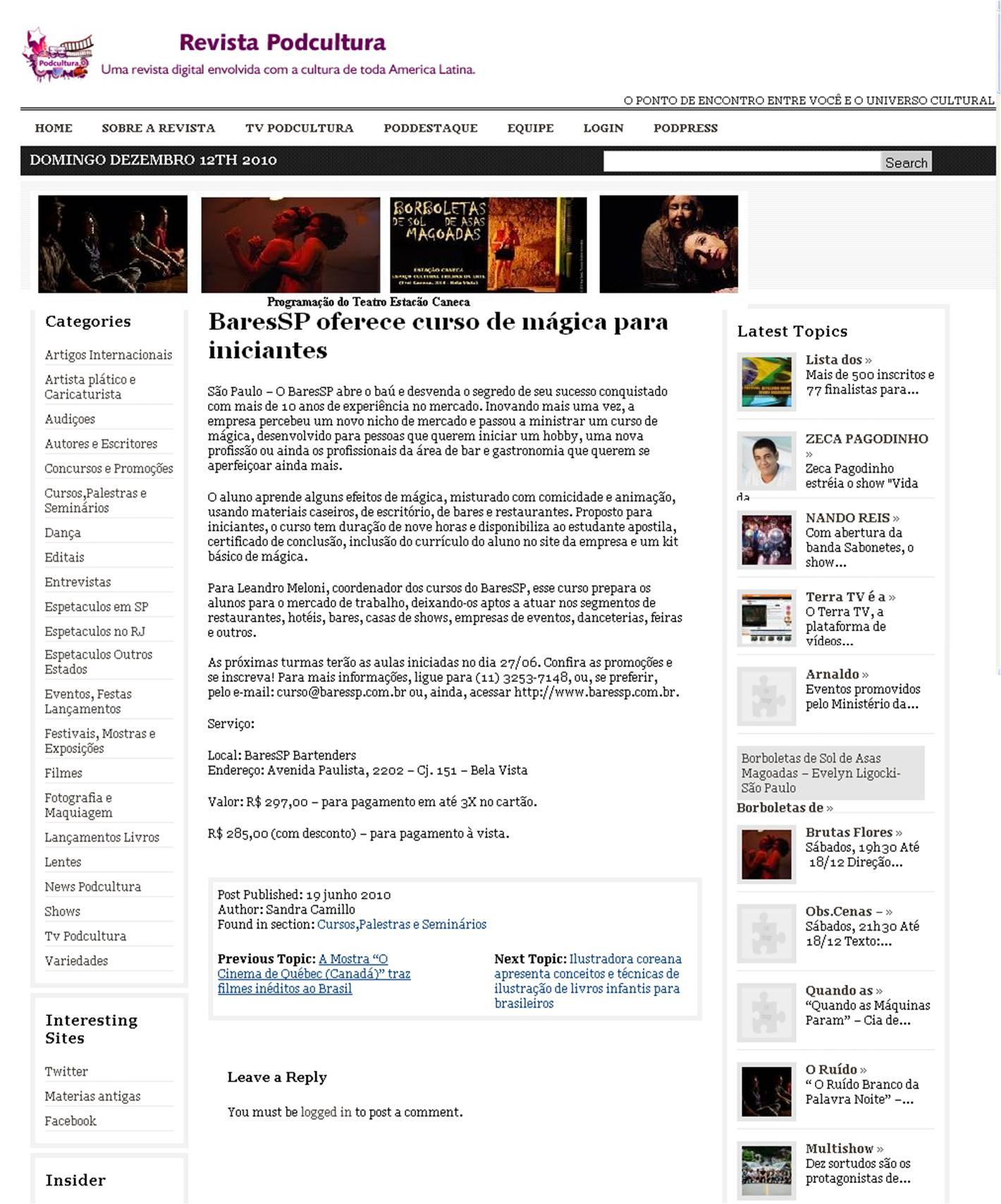 Curso de mágica do BaresSP na revista digital Podcultura BaresSP image