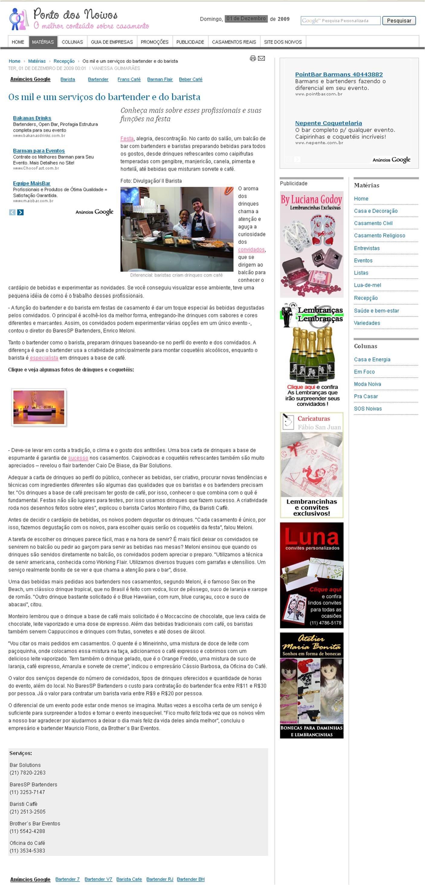 Matéria sobre bartenders e baristas no site Ponto dos Noivos