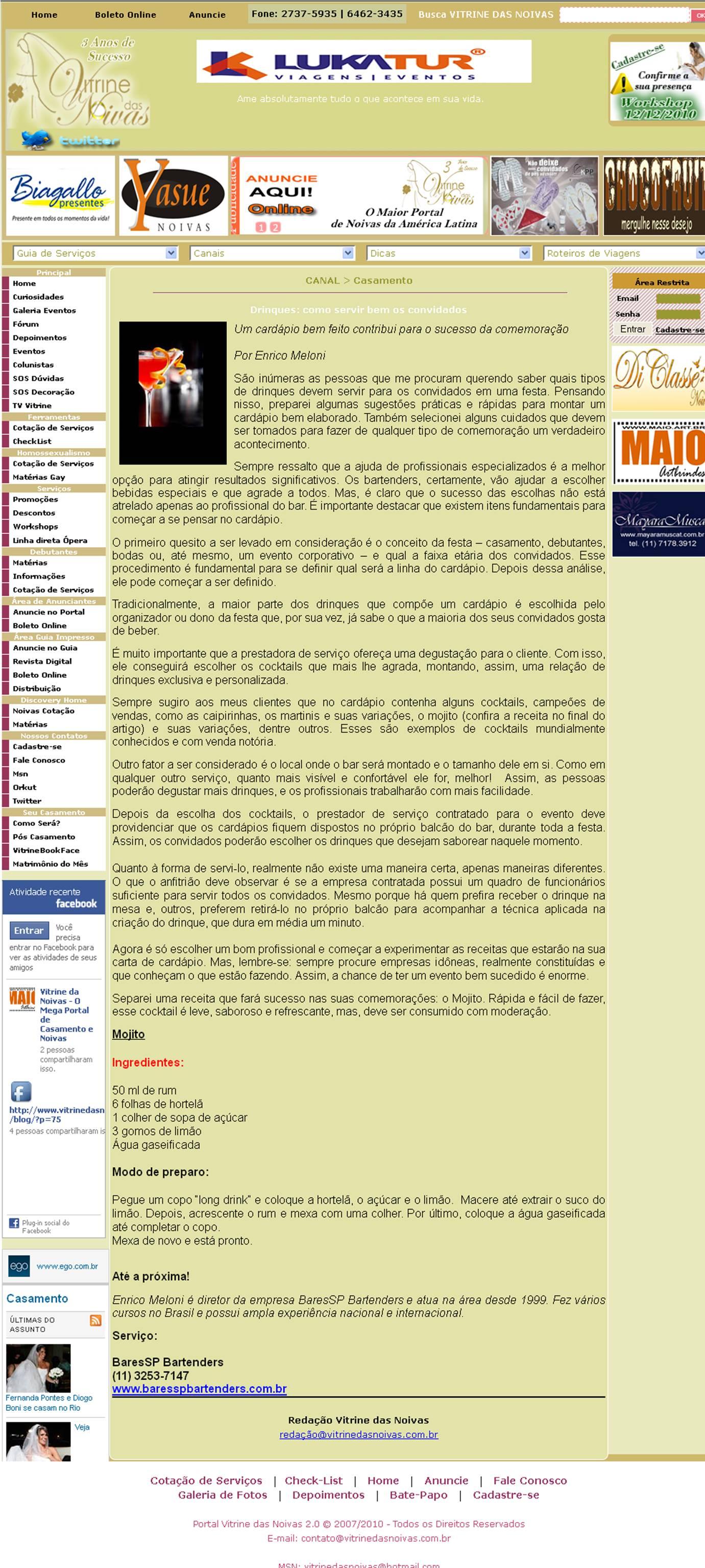 Matéria no Portal Vitrine das Noivas BaresSP image