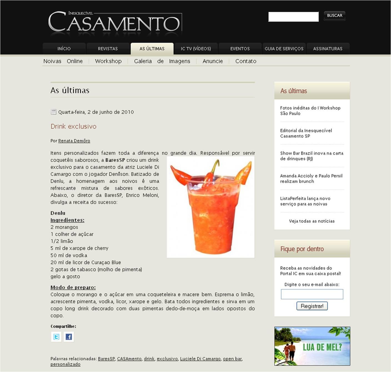 O drinque especial dos noivos Luciele Di Camargo e Denílson