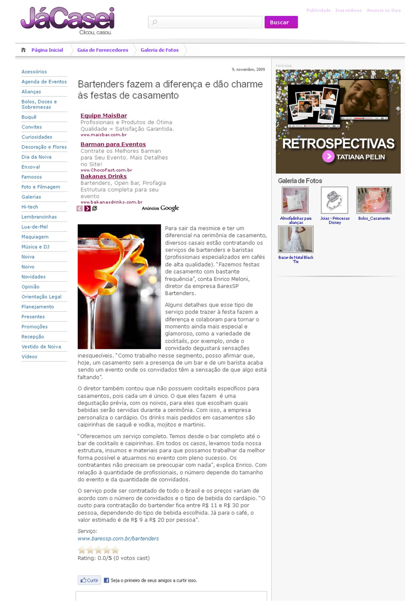 Matéria sobre Bartenders no Site JaCasei.com