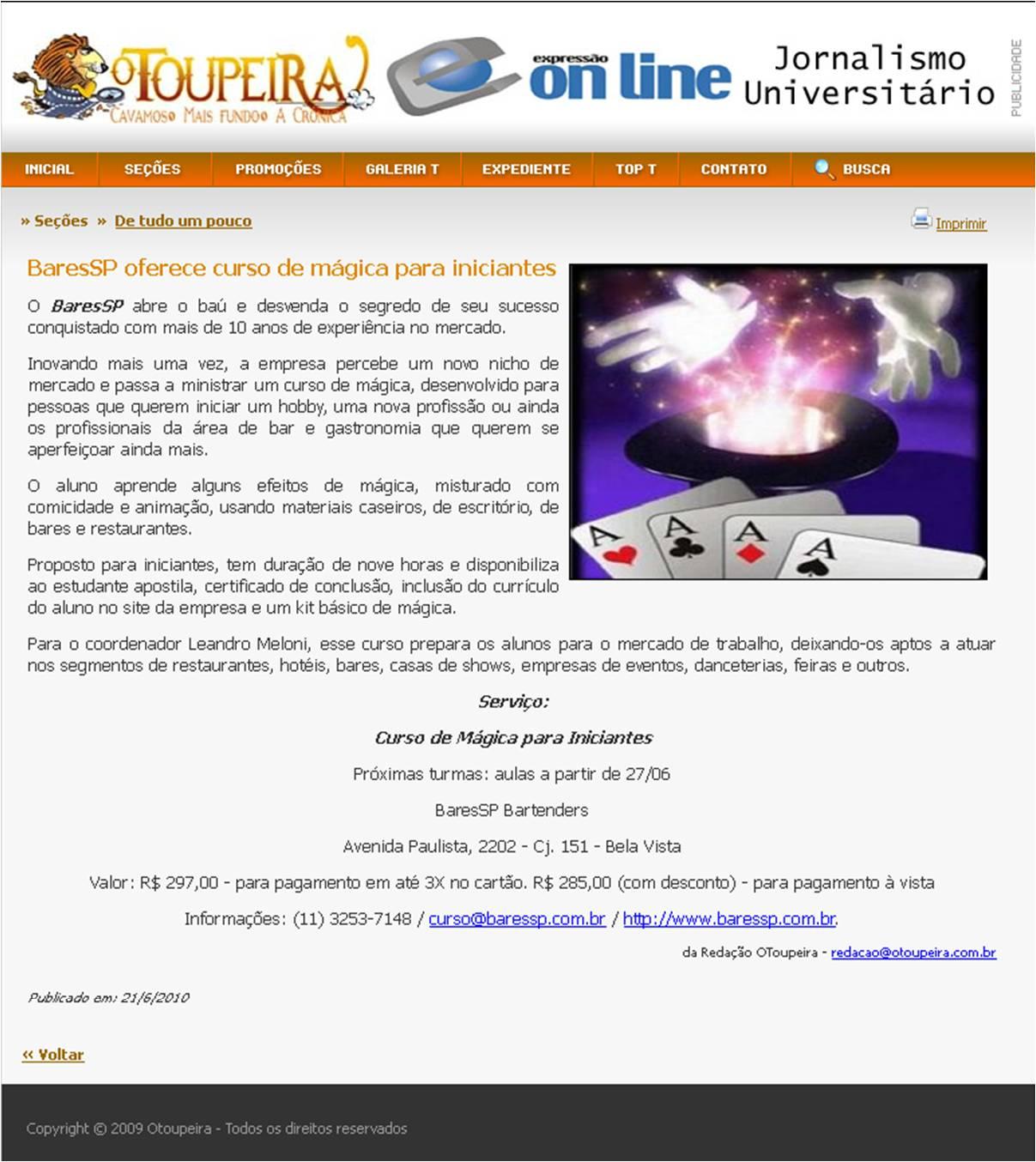 BaresSP oferece curso de mágica para iniciantes