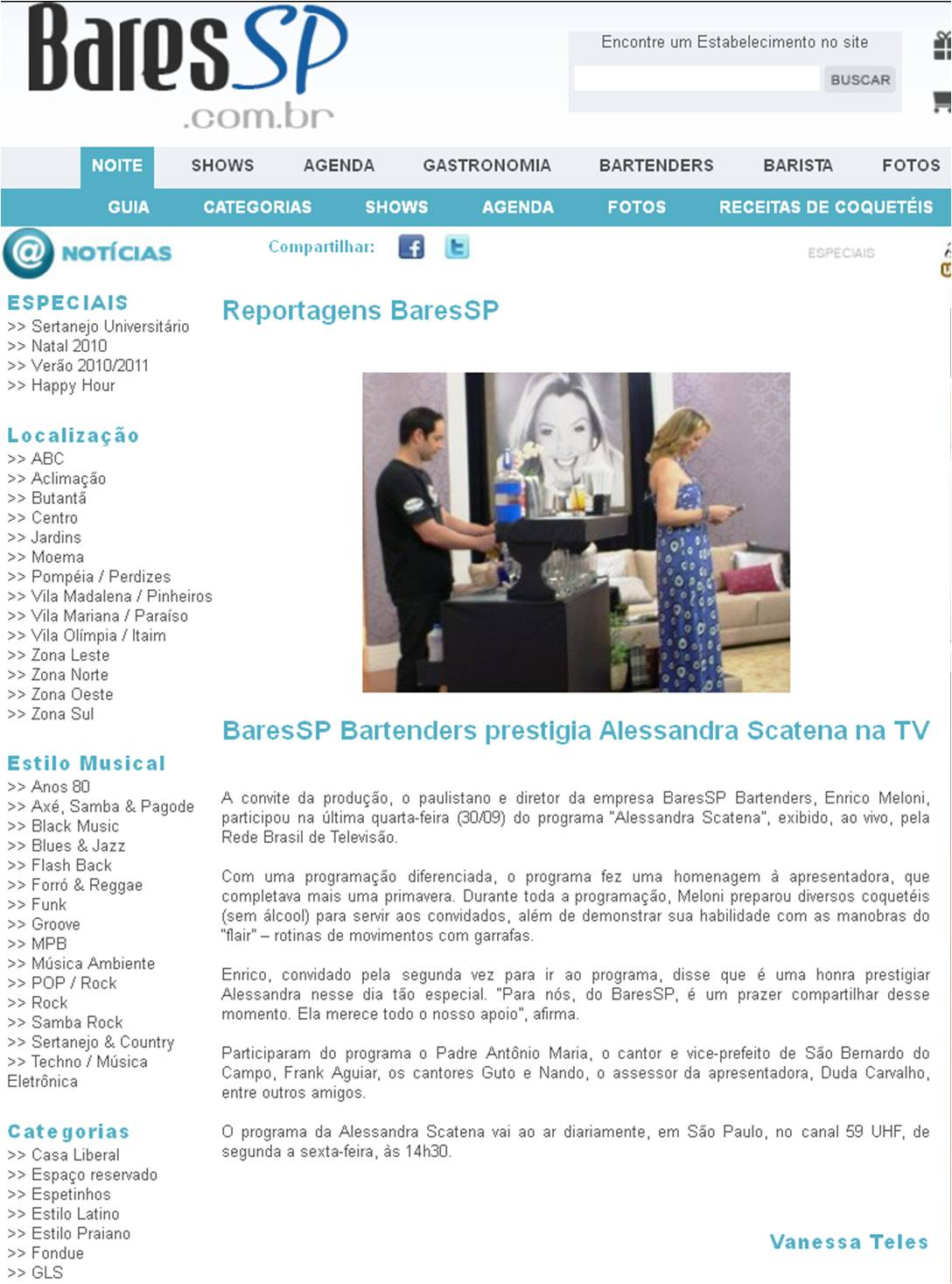 BaresSP Bartenders prestigia Alessandra Scatena na TV