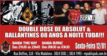Bandas This Way e Burnz comandam a noite com clássicos do rock no Republic Pub