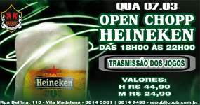 BaresSP Republic Pub oferece Open Chopp Heineken no happy hour